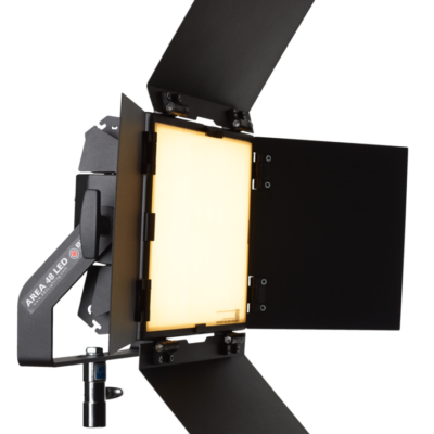 AREA 48 LED Black Fixture with 5600K Daylight 98 TLCI Phosphor Panel, Detachable Barndoors, Power Supply, Combo Junior/Baby stand adapter